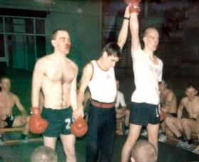 Recruit Pete Gurney milling, Depot, Aldershot, c1991 December.