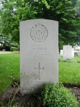 The grave of John M Dirom in Kirkley Cemetery