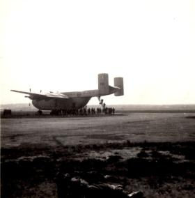 Boarding a Beverley aircraft to Jordan, 1958