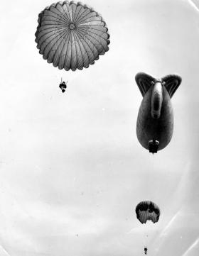 Jumping display at Hankley Common Open Day, from a balloon at 800ft, 1968.