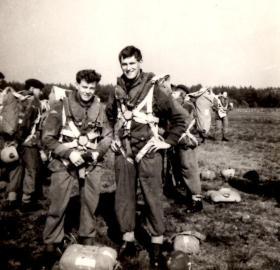 Pte Bryan Fradgley preparing  for parachute jump circa 1950s.