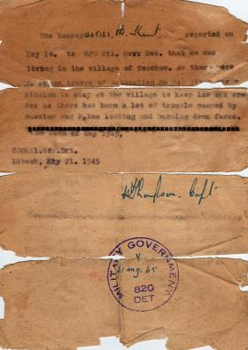 Letter from 820 Military Government Detachment May 1945