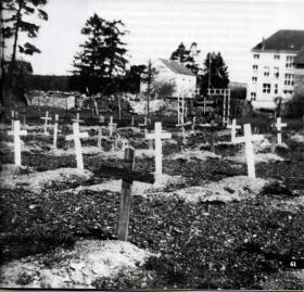 Field burial site for members of 13th Parachute Battalion killed in action at the Battle of Bure, 1945.