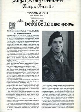 Article about Lt Col Neville 'Bill' Griffin from RAOC Gazette, June 1988