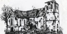 A drawing of Oosterbeek Church September 1944.
