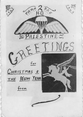Christmas and New Year Card from 2nd Para Bde HQ Palestine 1945
