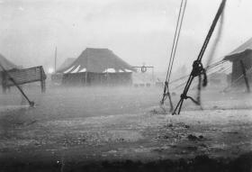 A storm in camp, Gaza District, December 1945
