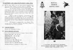Information leaflet on S Battery, 289 Parachute Regiment RHA TA, date unknown.