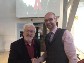 Bernard Cribbins with Airborne Assault Museum Curator Jon Baker, 5 June 2014.