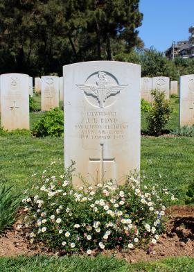 The grave of Lt J T Boyd, Phaleron War Cemetery, Greece, August 2015.