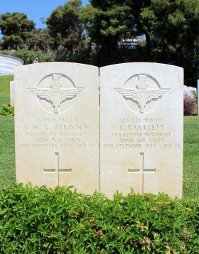 Joint grave of Ptes Atkinson and Bartlett, Phaleron War Cemetery, Greece, August 2015.