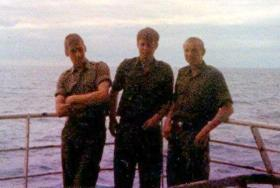 Pte McLean, Pte 'Dixie' Dean and Pte Dave Parr on MV Norland going south, 1982.