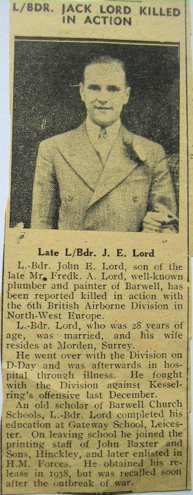 Local press cutting reporting the death of L/Bdr J Lord, 1945