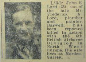 Local press cutting reporting the death of L/Bdr Lord 1945