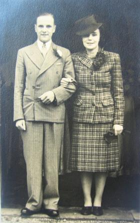 John 'Jack' Lord with his wife Muriel on their wedding day 31 October 1942.