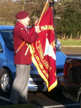 Standard Bearer at the funeral of Harvey Clarke, 2011.