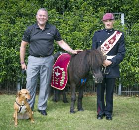 Tony Lewis and Pony Major Adam Martin with Peg the dog and Pegasus V, the Regimental Mascot, Duxford 2013.