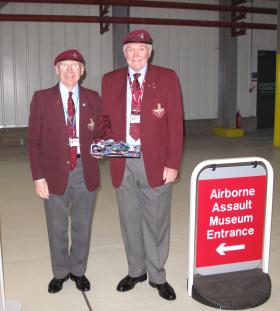 Ken Price and Tom Brown on duty outside the Airborne Assault Museum, April 2011
