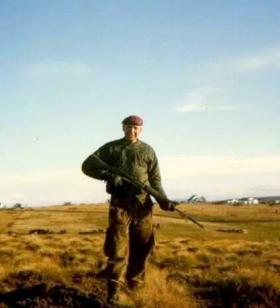 Pte David Parr with a Self-Loading Rifle (SLR) c1981.