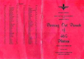 Programme for Passing Out Parade for 465 Platoon, 5 December 1980.