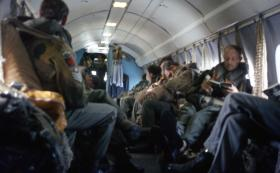 Members of 1 Para Provost Pln RMP (V) onboard an Andover for a parachute drop in Scotland, June 1974.