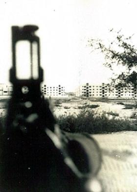 The view of flats from a cemetery, Suez, 1956.
