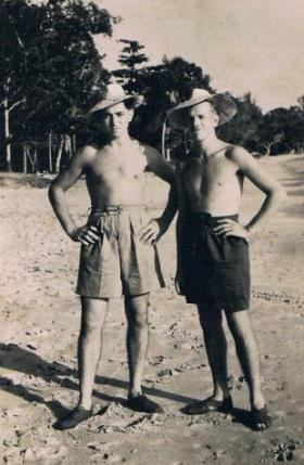 'Ritterby' Ritterband and Puddiford of 7th (LI) Para Bn on a beach in the Far East c1946