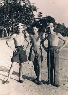 Puddiford, 'Ritterby' Ritterband and  Johnny Johnstone of 7th (LI) Para Bn on a beach in the Far East c1946