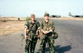 Pte Ingram and Pte Chilvers, 12 Platoon, D Coy Group, 2 PARA, Dakar Airfield, Senegal, West Africa, May 2000.