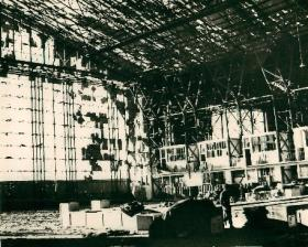 Inside of aircraft hangar destroyed by German air attack, Maison Blanche, 1942.