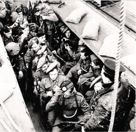 View of the interior of a landing craft during training for Bruneval, 1942.