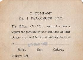 Ticket for a dance at Albany Barracks Jan 1946