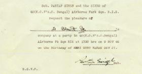 Invitation from 40 Airborne Park RIE, 1946