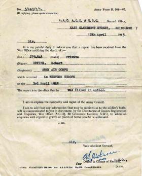 War Office letter regarding the death of Private Robert Irvine, 12 April 1945.