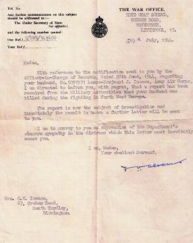 War Office letter confirming the death of CQSM Isaacs, 29 July 1944.