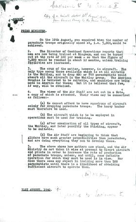Letter from Ismay to Churchill about training of parachute troops.