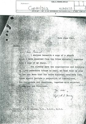 Letter from General Ismay about Churchill's minute.