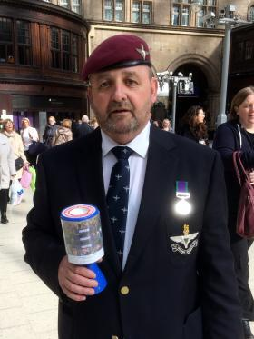 James Crawford collecting for The Parachute Regiment Assoication at Central Station Glasgow.