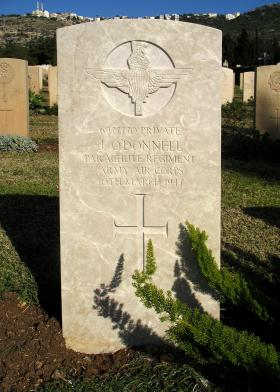Grave of Pte J O'Donnell, Khayat Beach Cemetery Israel, 1 January 2015.