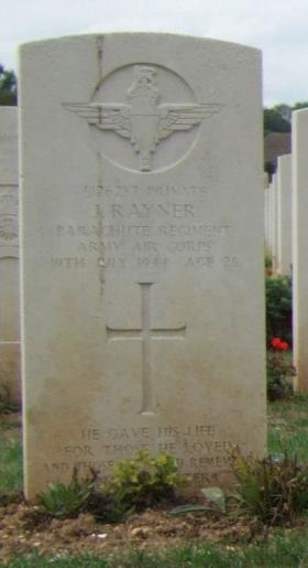 Headstone of Private J Rayner, Ranville Cemetery, August 2010.