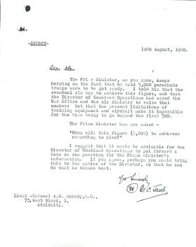 Letter from Jacob to Hornby about numbers of parachute troops.