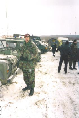 Jason Connolly in the snow on the multi national task near Klina, Kosovo