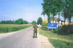 Jason Connolly outside a village in central Bosnia