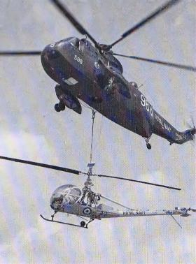 Underslung load trials by the Helicopter Section, Joint Air Training Establishment, c1975.