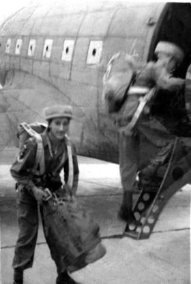 Members of 2nd Battalion Indian Parachute Regiment emplaning a C-47 Dakota for a training jump