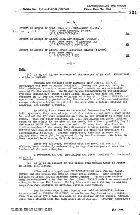 MBE Citation and Escape & Evasion Report for Lt John England, France, 1944.