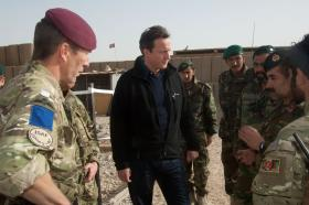 CO 2 PARA, Lt Col Andrew Harrison talks with Prime Minister David Cameron on a visit to Afghanistan, 2010