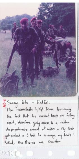 Members of 10 PARA on Ex Savage Bite, 1979.