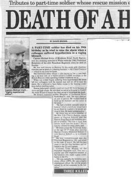 Newspaper article regarding the death of Captain Mike 'Joe' Irwin, 1996