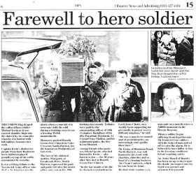 Newspaper article covering the funeral of Capt Mike 'Joe' Irwin, 1996